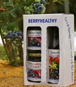 Pack of three contains Blueberries in peach schnapps, blueberry conserve and blueberry compote Priced at $26
